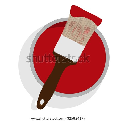 Metal paint can with red paint and paintbrush with wooden handle up view raster illustration