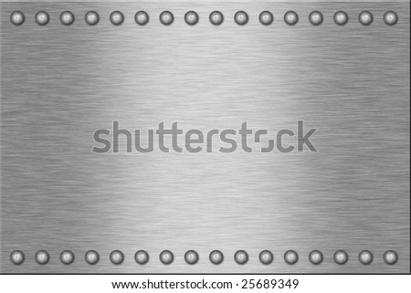 Metal plate with rivets.