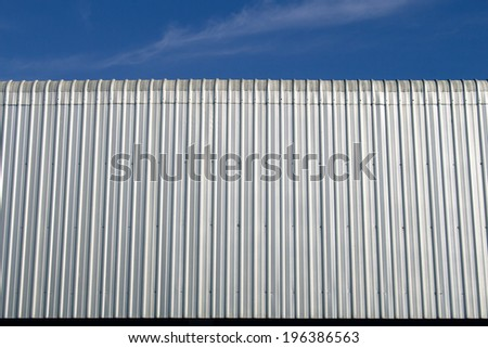 Metal roof with blue sky