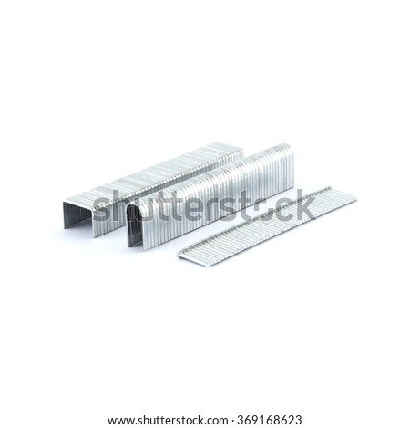 metal staples. Isolated on a white background