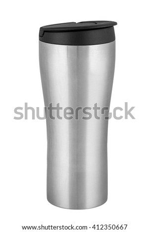 Metal thermocup. Isolated on white background