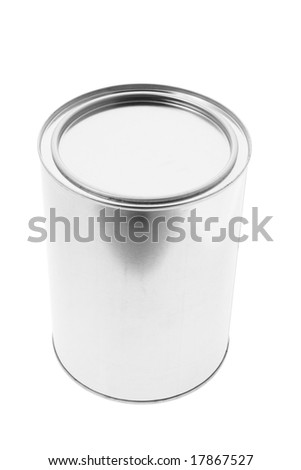 Metal Tin Container on Isolated White Background