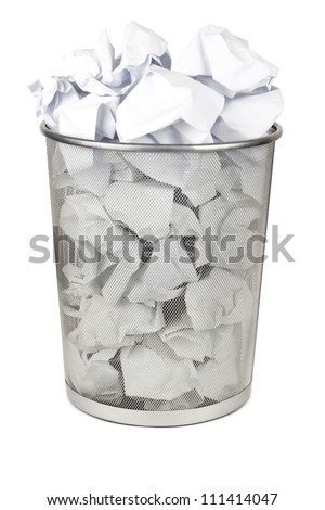 Metal trash bin for paper isolated on white