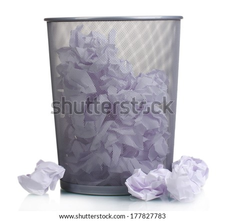 Metal trash bin from paper isolated on white