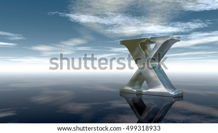metal uppercase letter x under cloudy sky - 3d rendering