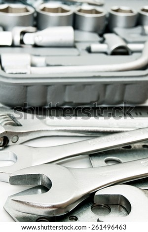 Metal working tools. Metalwork. Spanner, box and others tools.