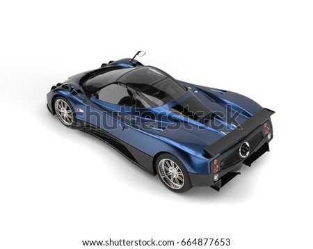 Metallic Blue Awesome Luxury Super Sports Car   Top Back View   3D  Illustration