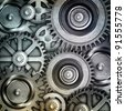 metallic gears background - stock photo