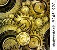 metallic gears background - stock vector