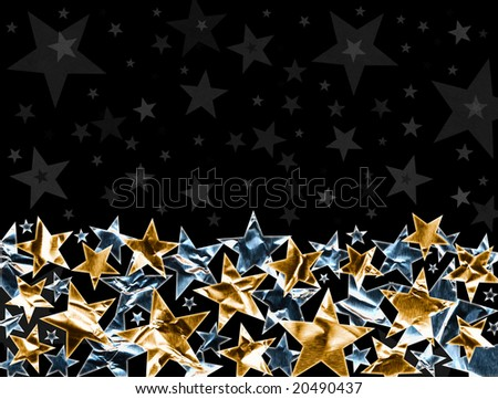Metallic gold and silver stars on a black background with subtle gray stars. Metal stars have a clipping path for easy background replacement.