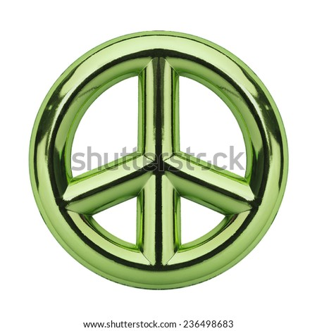 Metallic Green Peace Symbol Isolated on White Background.