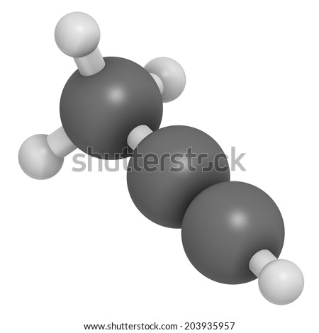 Methylacetylene (propyne) molecule. Used in welding gas and rocket fuel. Atoms are represented as spheres with conventional color coding: hydrogen (white), carbon (grey).