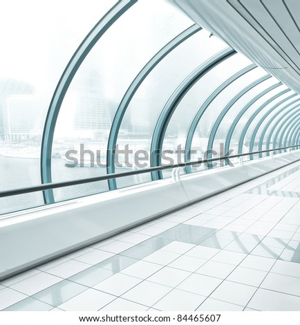 metro station, blue glass corridor