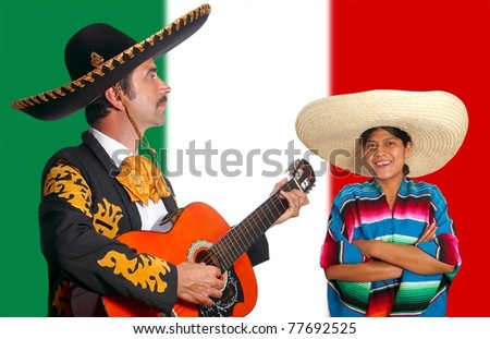 Mexican mariachi charro man and poncho girl Mexico flag background [Photo Illustration]
