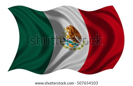 mexican flag waving wind stock illustration 49430875