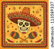 Mexican sugar skull. Raster version. - stock photo