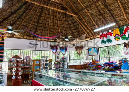 Mexico, Chichen Itza - 16 March 2015: Souvenir market with different goods
