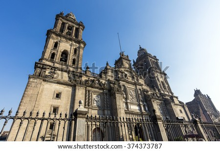 MEXICO CITY, MEXICO - DECEMBER 27, 2015; The front of Cathedral Metropolitana on Plaza de la Constitucion, the main square in th mexican capitol.