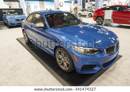 MIAMI BEACH, FL, USA - NOVEMBER 6, 2015:  BMW M235i on display during the 2015 Miami International Auto Show at the Miami Beach Convention Center in downtown Miami Beach.