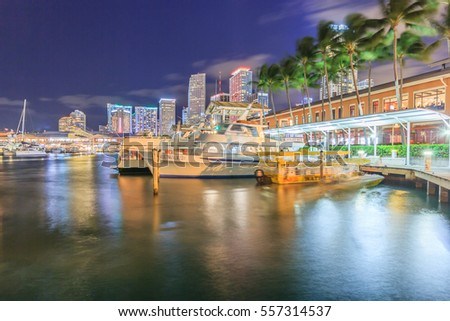 MIAMI,FLORIDA/USA - DECEMBER 31, 2016: Bayside Marketplace at night on December 31, 2016 in Miami, Florida. It is a festival marketplace and the top entertainment complex in Downtown Miami