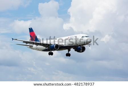 MIAMI, USA - September 11, 2016: A Delta Air Lines A320 aircraft landing at the Miami International Airport.