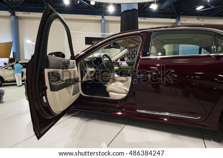 MIAMI, USA - SEPTEMBER 10, 2016: Lincoln Continental on display during the Miami International Auto Show at the Miami Beach Convention Center.