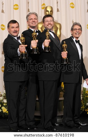 Michael Fink & Bill Westenhofer & Ben Morris & Trevor Wood at the 80th Annual Academy Awards at the Kodak Theatre, Hollywood. February 24, 2008 Los Angeles, CA Picture: Paul Smith / Featureflash