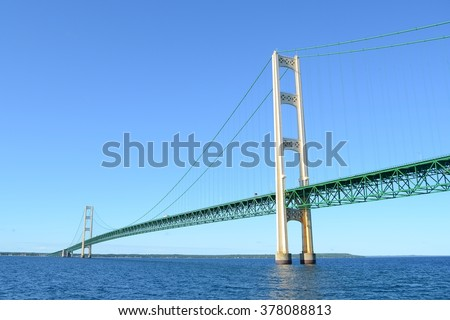 Michigan's Mackinac Bridge on a Sunny Summer Day