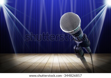 microphone on blue light stage