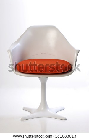 mid century tulip chair isolated on white