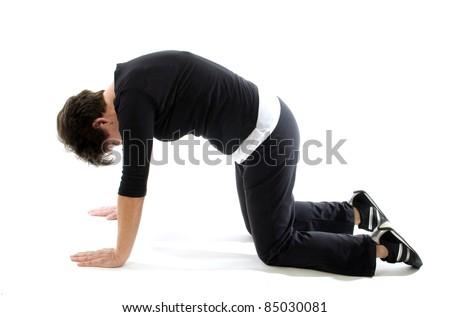 middle age senior woman exercising leg stock photo