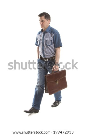 middle-aged man in casual with briefcase in his hand,isolated on white background