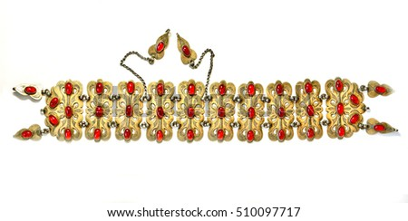 Middle-Asian traditional vintage jewelry belt.  Silver, gilding, semi-precious stones, east ornament. Isolated on white.