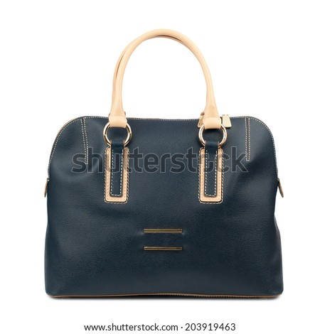 Midnight blue female leather bag isolated on white background.