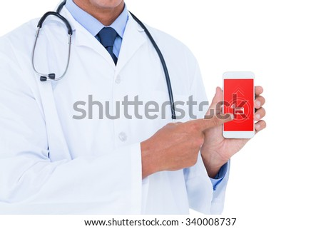 Midsection of male doctor pointing on mobile phone against loading screen