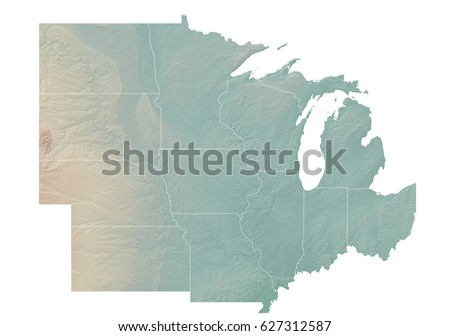 Western United States Topographic Map Stock Illustration - Us map of states topographic