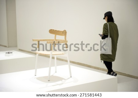 MILAN, ITALY-APRIL 17, 2015: furniture exposition of japanese design brand Nendo, during the design week, in Milan.