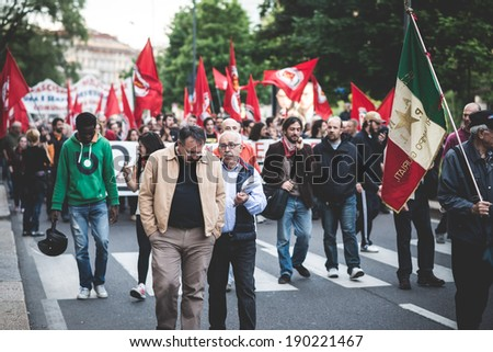 MILAN, ITALY - APRIL 29: Manifestation against fascism and nazism in Milan on 29 April 2014. People took the streets in Milan to protest against neo nazis and fascists groups present in Milan