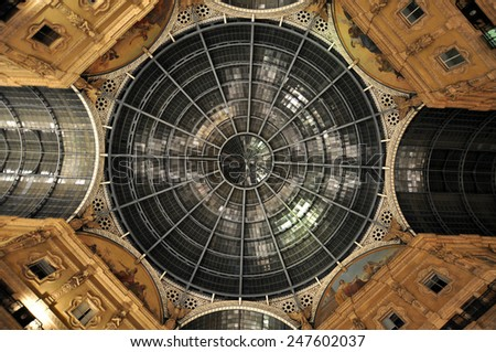 MILAN, ITALY - CIRCA FEBRUARY 2014: Galleria Vittorio Emanuele II, one of the world's oldest shopping malls. The gallery is built between 1865 and 1877 by Giuseppe Mengoni