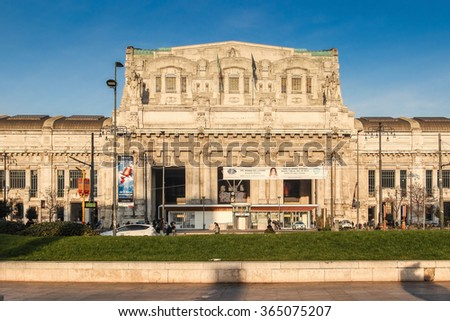 MILAN, ITALY - DECEMBER 18, 2015: Historic Milano Centrale railway station in Milan, Italy.