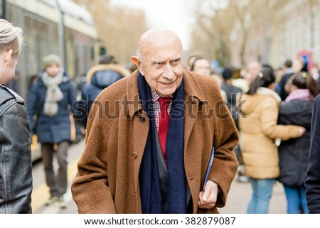 MILAN, ITALY - FEBRUARY 25, 2016: Beppe Modenese, Camera della Moda director,  during Milan Fashion Week Women Fall/Winter 2016/2017