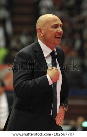 MILAN, ITALY - MARCH 16: Coach Luca Dalmonte in action during the regular season between Armani Jeans Milano and Acea Roma  at the Dutch Forum in Milan, March 16, 2014 in Milan, Italy.
