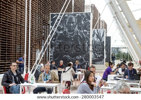 MILAN, ITALY-MAY 04, 2015: coffee pavillions with black and white pictures of brazilian photographer Sebastiao Salgado documenting the cofee plantations around the world, at EXPO 2015, in Milan.