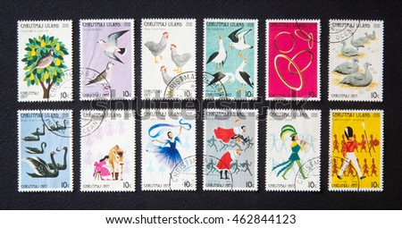 Milan, Italy - May 10, 2014: Twelve days of Christmas on Christmas island stamps