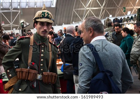 MILAN, ITALY - NOVEMBER 2: Soldier with spiked helmet at Militalia, exhibition dedicated to militaria collectors and military associations on NOVEMBER 2, 2013 in Milan.