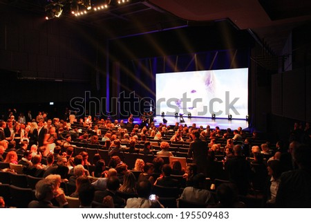MILANO, ITALY - MAY 26, 2014: Shutterstock promotional footage at the beginning of the International Grand Prix Advertising Strategies in Milano Italy.