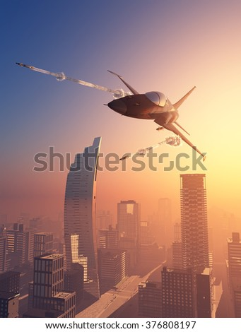 Military aircraft over the city.