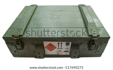 Military box with explosive isolated on white.