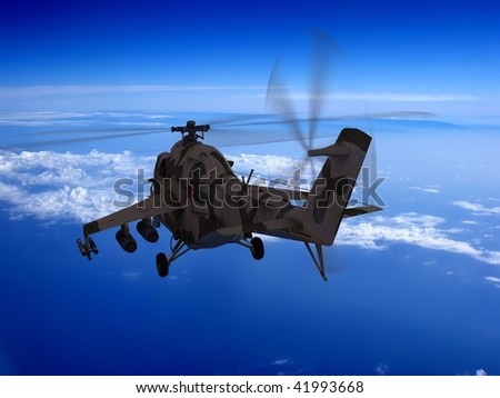 Military helicopter on a background sky