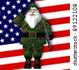 Military Santa Saluting Santa, in front of an American flag, wearing forest green camouflage battle dress uniform and carrying an M-16 rifle. Isolated on a white background. - stock vector